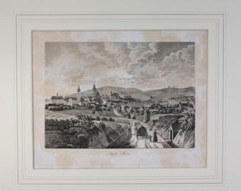 Copperplate Etching: 'Stadt Rötz' by Franz Xaver Schweickhardt von Sickingen  - dated 1835
