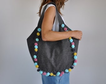 LAST PIECE - canvas hobo bag, canvas tote bag, hobo purse, shoulder bag, canvas tote, large canvas bag