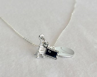 Sterling Silver Disc Necklace, Paris Necklace, Initial Necklace, Personalized Necklace, Silver Disc Necklace, Monogram Necklace, Stamped Eve