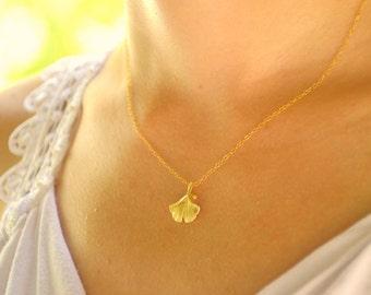 Gold leaf necklace, Ginkgo necklace, Gold ginko necklace, Leaf necklace, Leaf necklace gold, Ginkgo leaf necklace, Ginko necklace gold