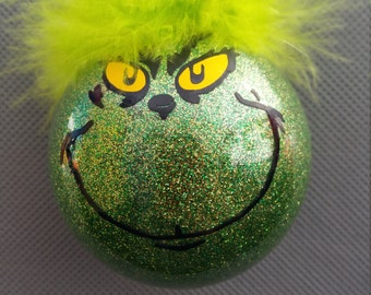 Grinch Glitter Ornament