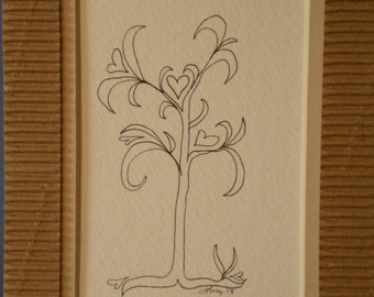 Spring heart Tree original ink drawing by Lucy (#111)