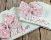 Personalized Baby Beanie Hat, Monogramed Baby Hat,  Embroidered Monogram Pink Damask, Infant Girl Personalized Newborn Baby Shower Gift,