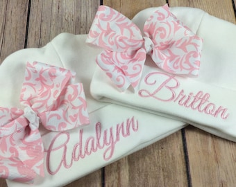 Personalized Baby Beanie Hat PINK DAMASK Monogrammed Baby Hat Embroidered Monogram Infant Girl Personalized Newborn Baby Shower Gift