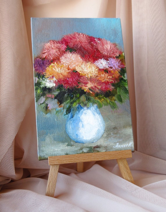 Small flower painting oil on canvas board original by for Small canvas boards