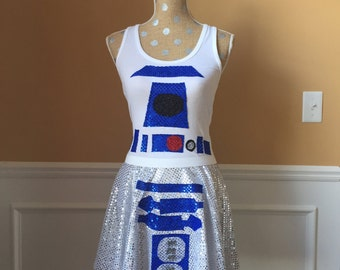 Droid Inspired Running costume outfit skirt/tank top