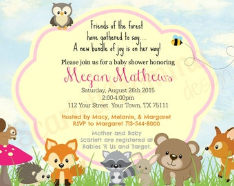 5x7 Woodland Animal Baby Girl Shower Invitation