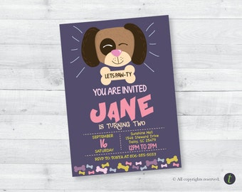 Doggy Birthday Invitation (girl)