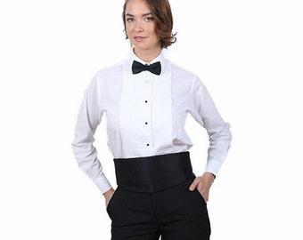 Women Laydown Collar 1/4 in. Pleat White Tuxedo Shirt