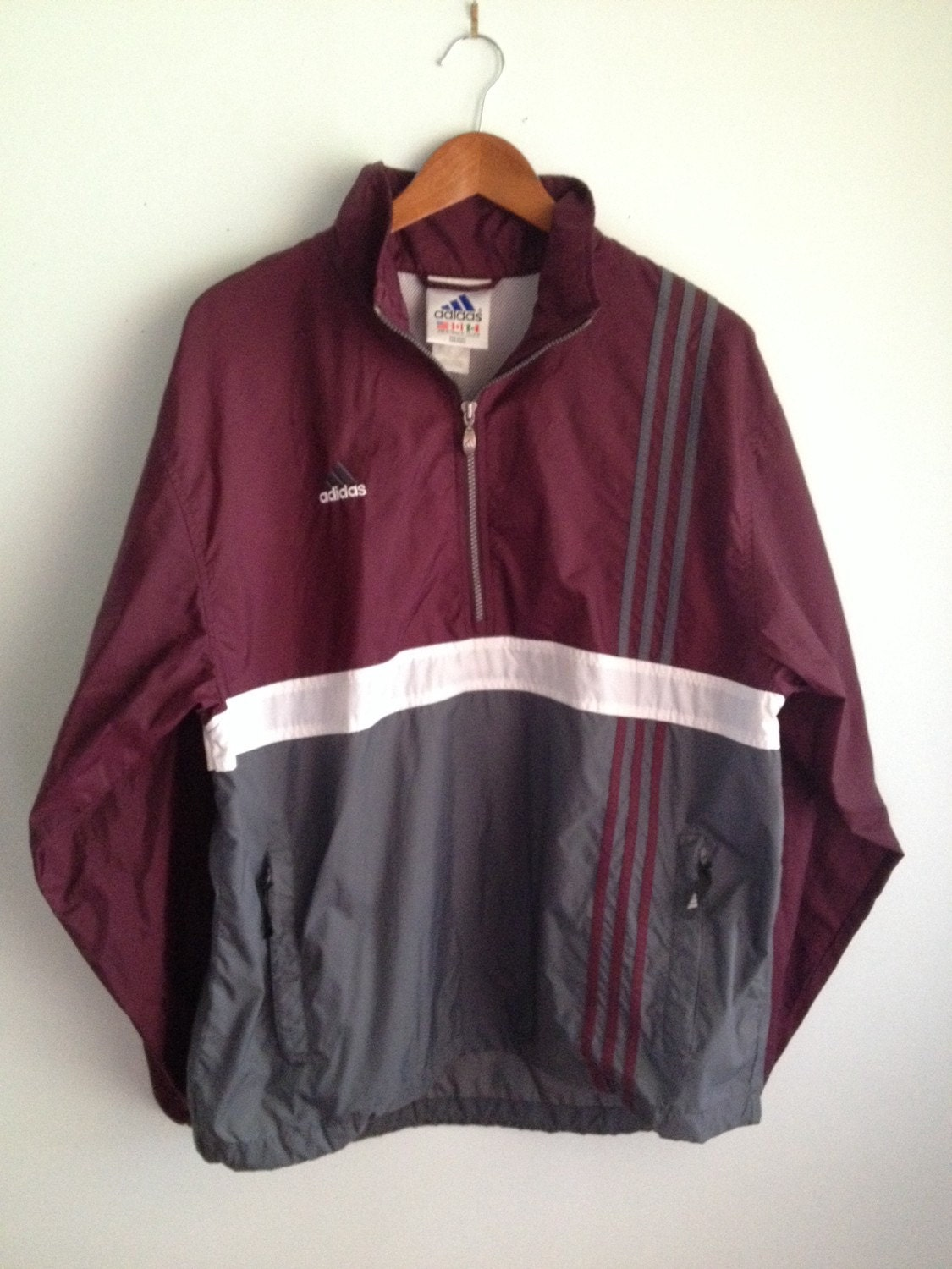 mint vintage adidas windbreaker anorak pullover maroon with. Black Bedroom Furniture Sets. Home Design Ideas