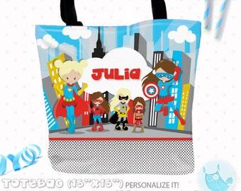 SALE Superhero girl Personalized Tote Bags, custom Tote bag, kids tote, school tote, kindergarten tote, beach tote bag, hero Tote Bags TB113