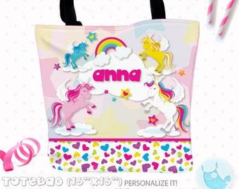 SALE Unicorn Personalized Tote Bags, custom Tote bag, kids tote, school tote, kindergarten tote, beach tote bag, unicorn Tote Bags TB102