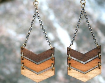 Ombre Three Tier Chevron Dangle Earrings - Natural Wood Organic Eco-Friendly Jewelry