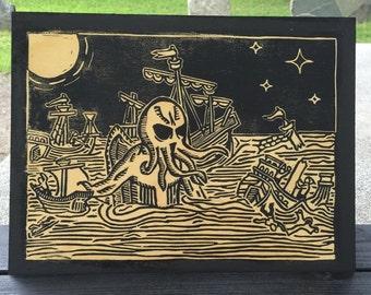 Cthulhu Rises! Blockprint on Wood - lovecraft mythos
