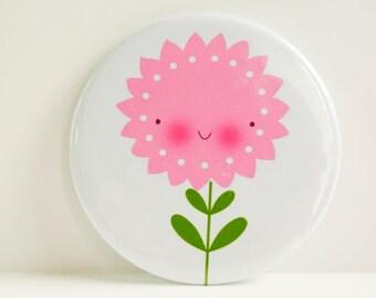 Pink Flower Pocket Mirror