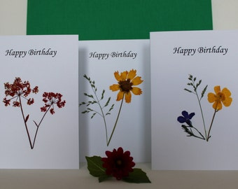 Pressed wild flower birthday cards ~ Set of 3 Happy Birthday cards ~ Connemara wild flowers ~ A tiny peice of Ireland on a card!