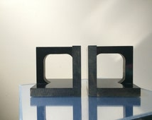 Pair 1970s Black Lucite Bookends Minimalist Design