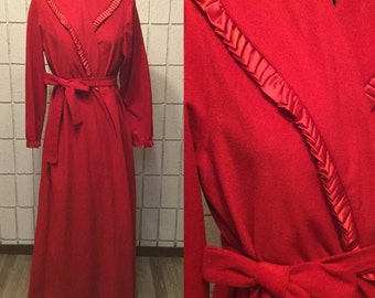 Red velvet / velour robe with ruffled, satin trim and pockets
