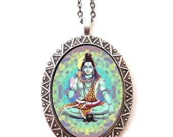 Shiva Hindu Necklace Pendant Psychedelic Trippy Visionary Art - Festival Art Spiritual Metaphysical Hippie - Hinduism Diety the Destroyer