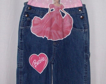 Custom made boutique little girls Barbie overalls size 4T PRICE REDUCED!!