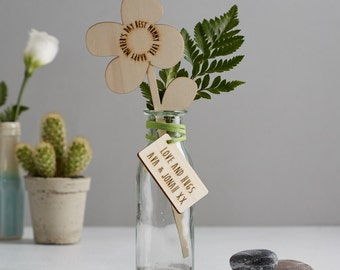 Personalised Gift - In Your Own Words Customised Wooden Flower - Floral Gift - Gift for Her - Fifth Wedding Anniversary Gift