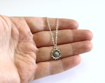 Sunflower Sterling Silver Necklace, Sunflower Necklace, Tiny Silver Necklace, Delicate Necklace, Minimalist Necklace,