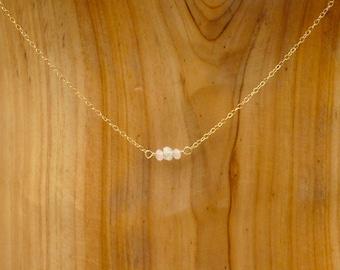 Rose Quartz and Moonstone Mini Bar Necklace