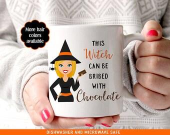 Coffee Mug Halloween Coffee Mug - Cute Witch Mug with Chocolate - Funny Halloween Mug