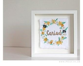Brodwaith 'Cariad' aur //  Welsh 'Love' Embroidered Art.