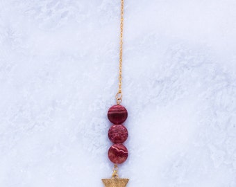 Lariat / Y Necklace with drop Burgundy Beads and Gold Triangle