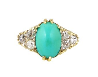 RESERVED - PAYMENT 1/2 Antique Turquoise Diamond Ring, Robins Egg Turquoise Ring, In 18ct Gold, Antique Anniversary Ring, Engagement Ring