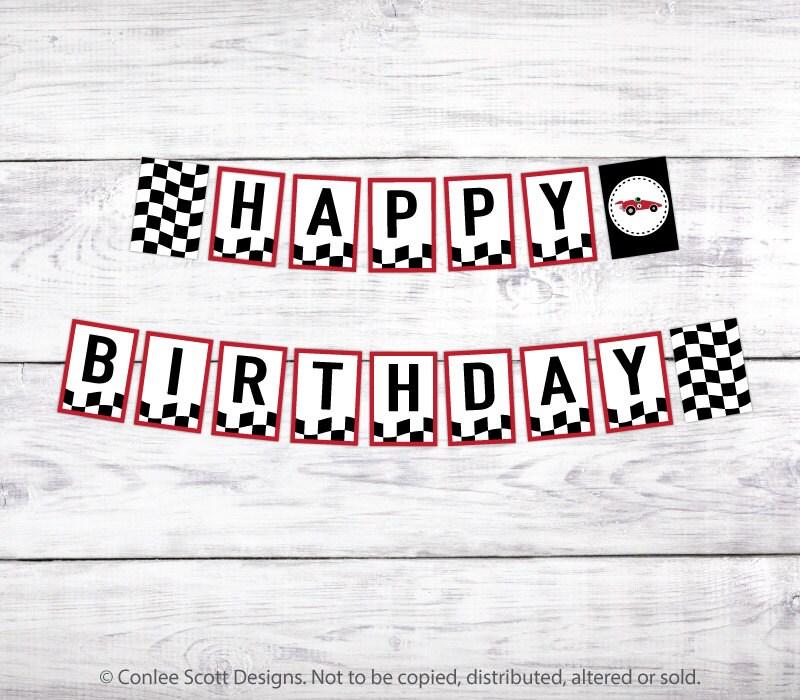 Printable Vintage Birthday Banner ~ Race car printable happy birthday banner retro vintage style