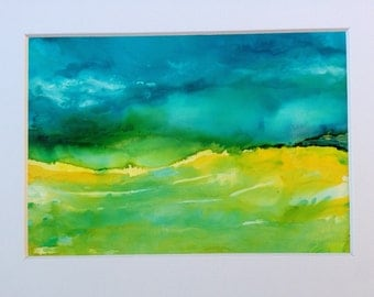 landscape painting, Blue and yellow, cloud cloudy skies, before the storm