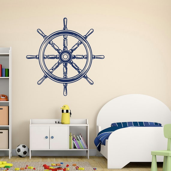 nautical nursery wall decals ship wheel decor sea by fabwalldecals. Black Bedroom Furniture Sets. Home Design Ideas