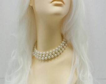 Long 28 inch White Wavy Heat Resistant Wig. Cosplay Wig. Storm Wig