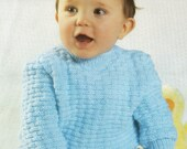 Baby Sweater Knitting Pattern  16 to 22 inch chest  Double Knitting and 4 Ply