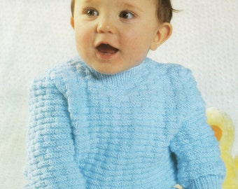 Baby Sweater Knitting Pattern - 16 to 22 inch chest - Double Knitting and 4 Ply