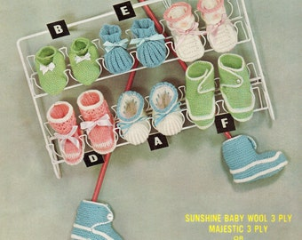 Vintage Knitting Pattern - Baby Bootees and Slippers - 3 ply