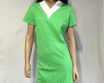 Vintage 1960's Mod Green Print Dress  * 60s Lime Green Dress - Mod Hipster Dress - Geek Chic Dress