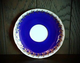 Shelley Saucer in Blue and Gold Pattern