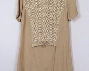 Vtg 50s 60s Dress Beige Cream Crochet Lace Aline Mod Retro Preppy Indie