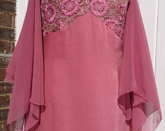 Exquisite dusky rose pink, floor length,  embroidered halter neck evening gown, with matching chiffon scarf or shawl. size 6/8