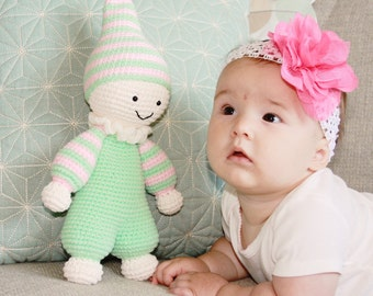 Crochet stuffed baby toy - amigurumi - plush baby toy - handmade baby toy - knitted toy - sleepy head toy - toys for nursery - cuddly toys