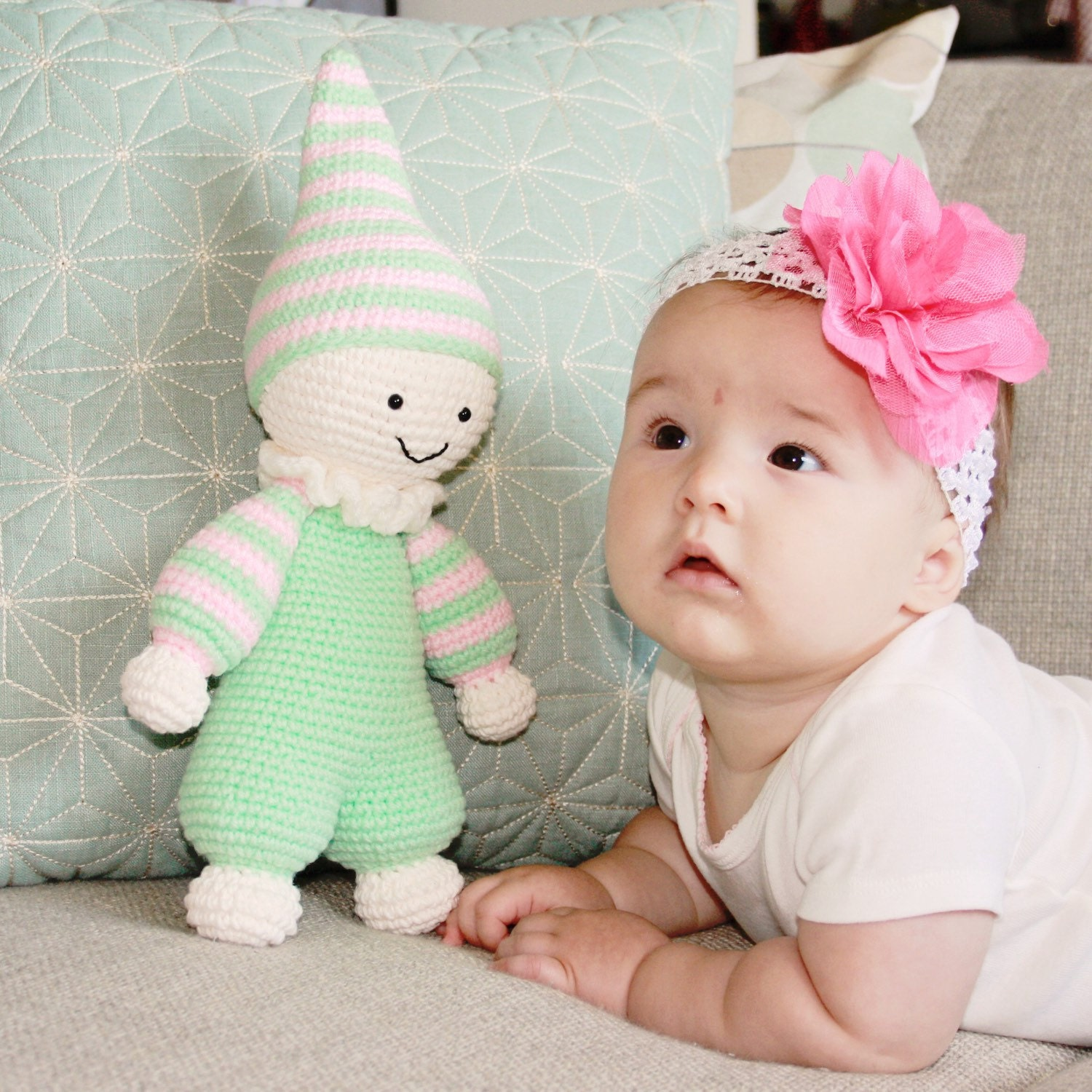 Baby Plush Toys : Crochet stuffed baby toy amigurumi plush