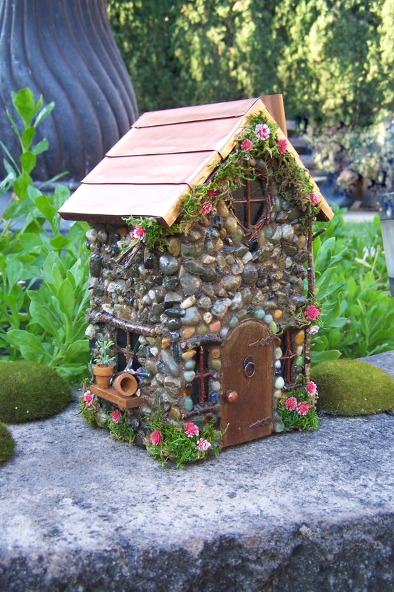 fairy garden house with copper roof fairy cottage the garden. Black Bedroom Furniture Sets. Home Design Ideas