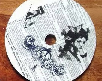4 Upcyled CD coasters Vintage-look