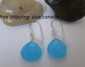 Blue chalcedony earrings, 92.5 sterling silver hooks