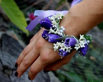 Polymer Clay Jewelry - Crocuses Bracelet - Flower Bracelet - Handmade Bracelet - Floral Bracelet - Jewelrylimanska