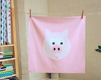 Cotton Fabric - Pink Pig Pillow Panel - Pink, Light Pink, White