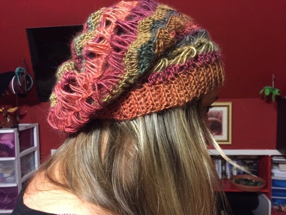 Items similar to Slouchy Hat Pattern with Crochet Shell ...